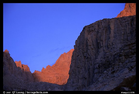 First light on Mt Whitney chain. Sequoia National Park, California, USA.