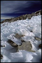 Wind-blown snow near  summit of Mt Whitney. Sequoia National Park, California, USA.