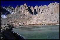 Frozen lake near Trail Camp and Mt Whitney chain. Sequoia National Park ( color)