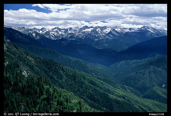 Panorama of  Western Divide from Moro Rock. Sequoia National Park (color)