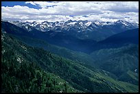 Panorama of  Western Divide from Moro Rock. Sequoia National Park, California, USA. (color)