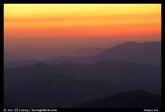 Receding ridge lines of  foothills at sunset. Sequoia National Park (color)