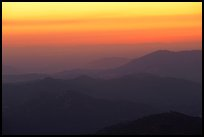 Receding ridge lines of  foothills at sunset. Sequoia National Park ( color)