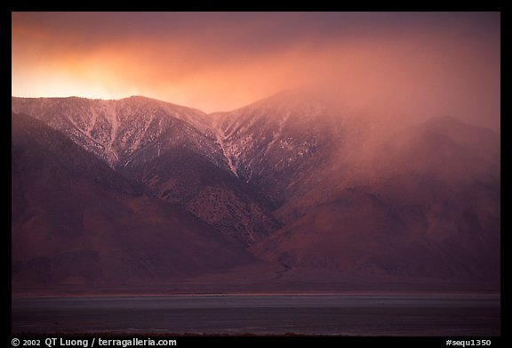 Clearing storm over  Sierras from Owens Valley, sunset. Sequoia National Park (color)