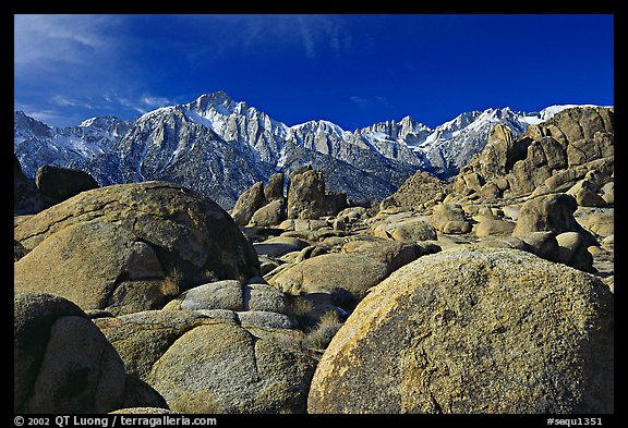 Volcanic boulders in Alabama hills and Sierras, morning. Sequoia National Park (color)