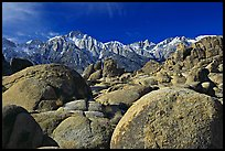 Volcanic boulders in Alabama hills and Sierras, morning. Sequoia National Park, California, USA.