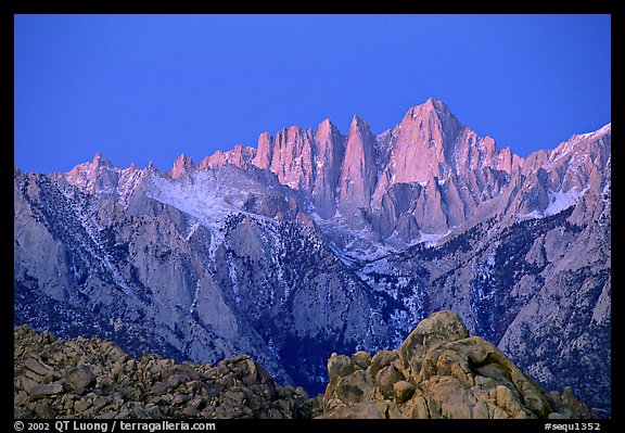 Alabama hills and Mt Whitney, dawn. Sequoia National Park, California, USA.