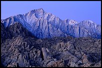 Volcanic boulders in Alabama hills and Lone Pine Peak, dawn. Sequoia National Park, California, USA. (color)