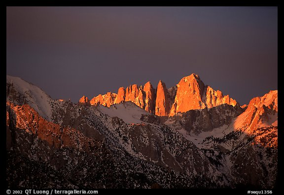 Mt Whitney, sunrise. Sequoia National Park (color)