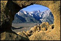 Alabama hills arch I and Sierras, early morning. Sequoia National Park, California, USA. (color)