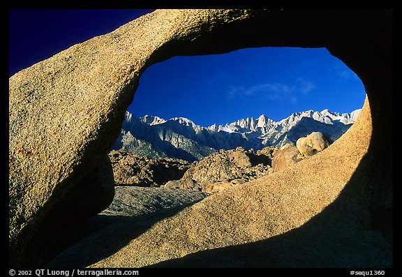 Alabama hills arch II and Sierras, early morning. Sequoia National Park (color)
