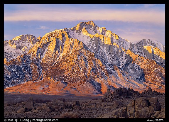 Volcanic boulders in Alabama hills and Lone Pine Peak, sunrise. Sequoia National Park (color)