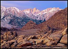 Volcanic boulders in Alabama hills and Mt Whitney, dawn. Sequoia National Park ( color)