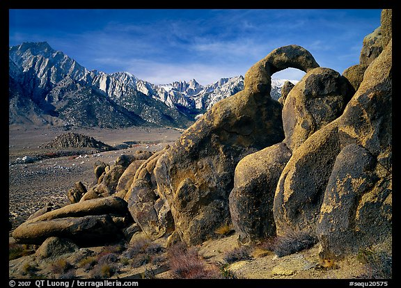 Rock arch and Sierra Nevada range with Mt Whitney, morning. Sequoia National Park (color)