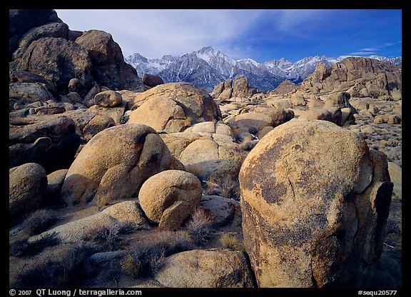 Boulders in Alabama Hills, Lone Pine Peark, and Mt Whitney. Sequoia National Park (color)