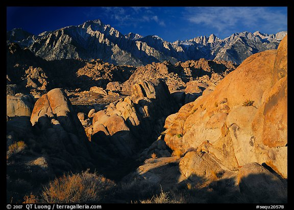 Alabama hills and Sierras, early morning. Sequoia National Park (color)