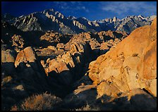 Alabama hills and Sierras, early morning. Sequoia National Park, California, USA.
