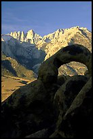 Alabama hills arch I and Sierras, sunrise. Sequoia National Park, California, USA. (color)
