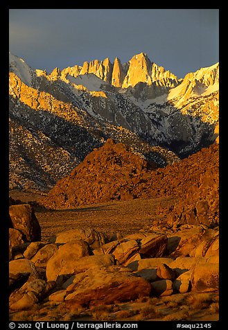 Alabama hills and Mt Whitney. Sequoia National Park (color)