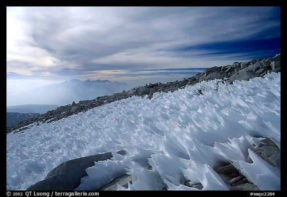 Windblown snow formations near the summit of Mt Whitney. Sequoia National Park, California, USA.