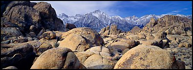 Alabama Hills boulders and Sierra Nevada. Sequoia National Park (Panoramic color)