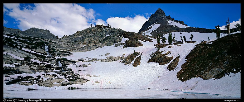 Frozen lake and neves in early summer. Sequoia National Park (color)