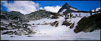 Frozen lake and neves in early summer. Sequoia National Park (Panoramic color)