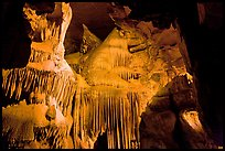 Ornate calcite stalactites, Crystal Cave. Sequoia National Park, California, USA. (color)