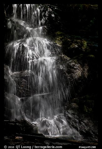 Waterfall with water shining in spot of sunlight, Cascade Creek. Sequoia National Park (color)