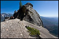 Moro Rock with visitors on path. Sequoia National Park, California, USA. (color)
