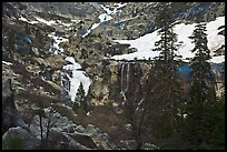 Tokopah Falls cascading down cliffs for 1200 feet. Sequoia National Park, California, USA.