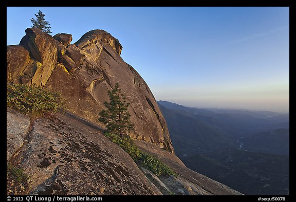 Moro Rock and Kaweah River valley at sunset. Sequoia National Park (color)