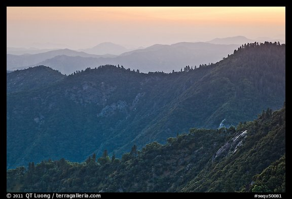 Forested ridges at sunset seen from Moro Rock. Sequoia National Park (color)