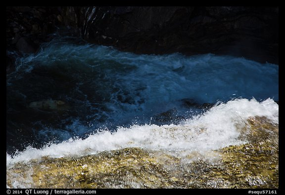 Water flowing over ledge, Marble Fall. Sequoia National Park (color)