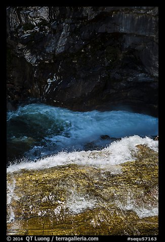 Water dropping into gorge, Marble Fall. Sequoia National Park (color)