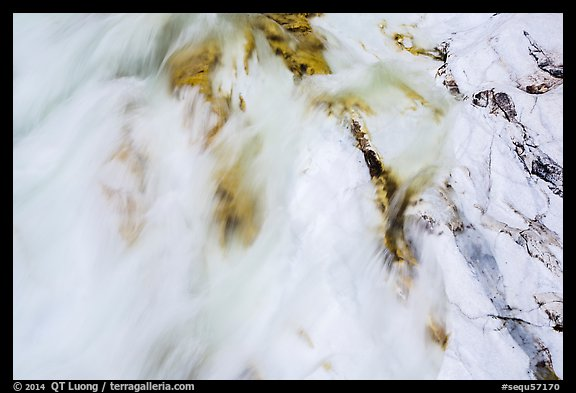 Stream flowing over marble rocks. Sequoia National Park (color)