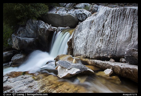 Cascade in Marble falls of Kaweah River. Sequoia National Park (color)