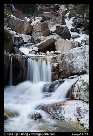 Upper Marble Falls of the Kaweah River. Sequoia National Park (color)