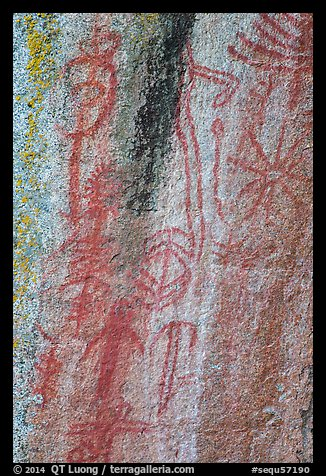 Vivid red pictographs, Hospital Rock. Sequoia National Park (color)