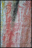 Vivid red pictographs, Hospital Rock. Sequoia National Park ( color)