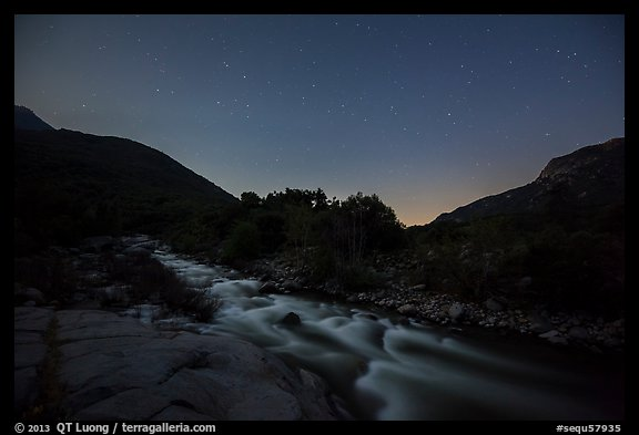 Kaweah River at night. Sequoia National Park (color)
