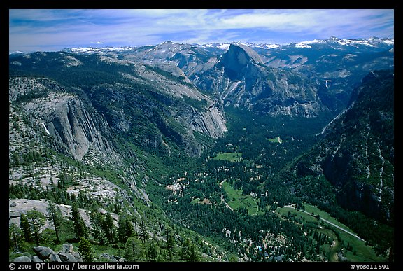 Yosemite Valley and Half-Dome from Eagle Peak. Yosemite National Park (color)