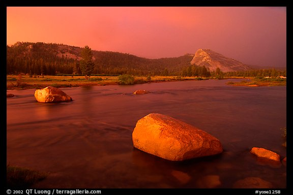 Tuolumne Meadows, Lembert Dome, and rainbow, storm clearing at sunset. Yosemite National Park (color)