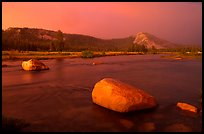 Tuolumne Meadows, Lembert Dome, and rainbow, storm clearing at sunset. Yosemite National Park, California, USA. (color)
