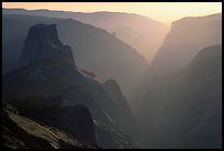 Half-Dome and Yosemite Valley seen from Clouds rest, late afternoon. Yosemite National Park, California, USA.