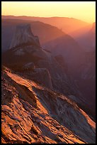 Half-Dome and Yosemite Valley seen from Clouds rest, sunset. Yosemite National Park, California, USA.