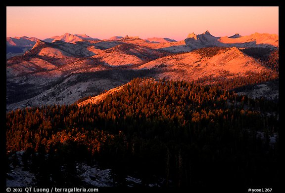 Cathedral Range seen from Clouds Rest, sunset. Yosemite National Park (color)