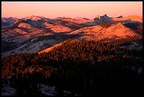Cathedral Range seen from Clouds Rest, sunset. Yosemite National Park ( color)