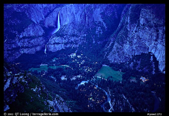 Yosemite Falls, Valley and Village seen from Glacier Point, dusk. Yosemite National Park, California, USA.