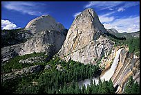 Nevada Falls and Liberty cap in summer. Yosemite National Park, California, USA. (color)